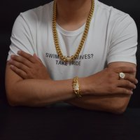 Wholesale Cuban Bracelet Silver - 14mm Men Cuban Miami Link Bracelet & Chain Set AAA Rhinestone Clasp Stainless Steel Gold Hip Hop Necklace Chain Jewelry Set
