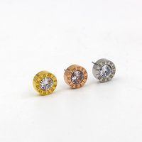 Wholesale roman numerals numbers - 2017 Fashion Brand Stainless Steel Crystal Round Roman Numerals Love Stud Earring Women Gift