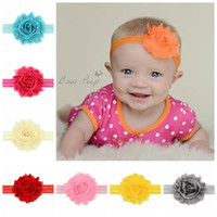 Wholesale Hair Color Yarn - Infants Fashion Headbands Baby Girl Shabby Flowers Hair Accessories Childrens Boutique Yarn Hair bands Headwear 12 Colors