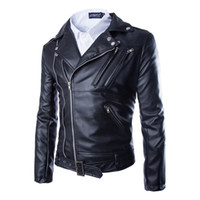 Wholesale Leather Hooded Biker Jacket Men - 2017 New Leather Jackets Mens Coat Autumn Masculinas Inverno PU Biker Jacket coats black Jaquetas De Couro Leather Jacket Plus