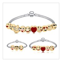 Wholesale cartoon beaded bracelets - Cartoon Emoji Bracelet with 10 pcs Smiley Faces Emoticon Beads DIY Charms Bracelet Emoji Faces Bracele 19CM Party Favors Gift Free Shipping