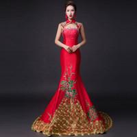настоящий красный павлин оптовых-100% реальный Китай синий / красный павлин / китайский рисунок вышивки пиона тонкий платье платье спектакль