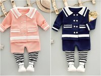 Wholesale Toddler Girls Down Coat - 2pcs Kids Baby Girls Naval Cardigan Coat Top+Pants Toddler Infant Clothes Sets
