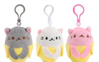 Super Cute 10CM Kawaii Banana Kitty Toys, chats Plush Peluche en peluche, mini pendentif pour pendentif en peluche