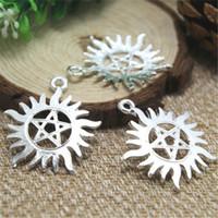 Wholesale pentagram charms - 6pcs-- supernatural pentagram Charms Silver plated supernatural pentagram charms pendants 39x35mm
