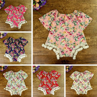 Wholesale Diaper Headband - 2017 INS Baby girl Toddler Summer 2piece set outfits Tassels Lace Rose Floral Romper Onesies Jumpsuits Diaper covers + Bow Headband headwrap