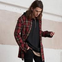 Wholesale Shirt Plaids Checks - Vintage Plaid Shirts For Men Hip-Hop Raw Edge Long Cotton Shirts Red Green Checked Long Sleeve Casual Shirts Autumn Winter Tops LGF0811
