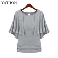 Wholesale Pinup Shirt - Wholesale- YATHON Fashion Cloak O-neck Slim Stretchy Tops Women New Pinup Solid Cotton Blend Loose Casual Work Office Plus Size 5xl T-Shirt