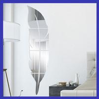 ingrosso pittura murale per salotto-Adesivi murali specchio 3D pittura murale acrilico specchi piano soggiorno camera da letto pasta piuma piuma decorazione stile europeo minuto 13