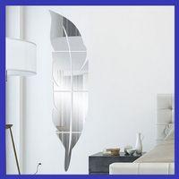 pintura mural de parede venda por atacado-Espelho Adesivos de Parede 3D Pintura Mural Espelhos Acrílicos Plano Sala de estar Quarto Colar Pena Pluma Decoração Estilo Europeu Minuto 13