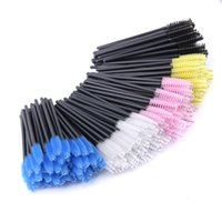 Wholesale Mascara Pack - Wholesale 10pack  Lot Disposable Eyelash Brush 50pcs Pack Mascara Wands Applicator Wand Brushes Eyelash Comb Brushes Spoolers