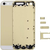 Wholesale Iphone Color Battery Case - GOOD Quality Metal Back Battery Housing Door Case With Sim Card Tray + Power Volume Button Key For iPhone 5S Black Silver Gold Color