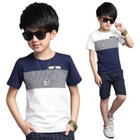 Wholesale 13 Years Kids Clothes - Summer boy leisure suit shorts stitching two pieces sets kids 5 8 13 years old clothes baby boy set clothes teenage cotton suit