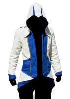 katilin inançlı hoodie kostümü toptan satış-Malidaike Oyunu Unisex Şekil Assassin Creed 3 Connor Kenway Hoodie Ceket Zip Up Sweatershirt Cosplay Kostüm