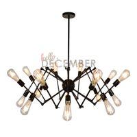 Wholesale Black Vintage Metal Lamp - Vintage LED Pendant Lights 8 12 18 Light Adjustable Metal Ceiling Lamps Industrial Chandelier Pendant Light AC 100-240V
