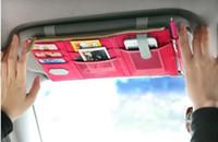 Wholesale Cell Holder Cloth - Sun Visor Point Pocket bag Multifunction Car Organizer Oxford Cloth Bag Cell Phone Card Bills Debris bag Cars Mini Storage Container bagsLLF