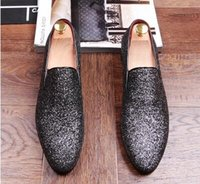 Wholesale Loafers For Men Style - Fashion Men's shiny sequins Party Wedding Shoes Men Casual Loafers Italian Style Smoking Slipper Derby Dress Shoes for mens AXX233