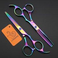 dourado, cabelo, corte, tesouras venda por atacado-Tesoura de cabelo Lyrebird 5.5 polegada de corte tesoura desbaste tesoura Preto Azul arco-íris de ouro Embalagem Simples NOVO