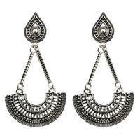 Wholesale Antique Chandelier Earrings - Antique Silver Plated Long Drop Fashion Earrings