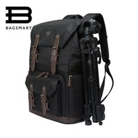 Wholesale Open Cameras - Wholesale- BAGSMART Canvas&Leather Retro Camera Bag NG5070 Camera Backpack Black Travel Camera Backpack Photography Bag
