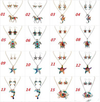 Wholesale Ethnic Rainbow - Ethnic Jewelry Sets Rainbow Horse Rainbow Tortoise Pendant Necklace & Earrings Sets Gold Silver Colorful Drip Resin Charm Gift For Women