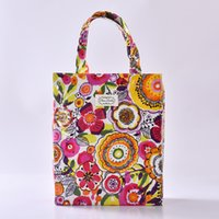 Atacado- YILE à prova d'água Canvas Shopping Tote Shoulder Bag imprimir Orange Yellow Flower 922-8