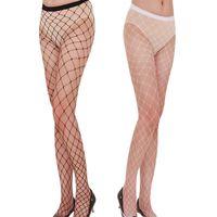 Wholesale Girls Fishnet Lingerie - Fashion Women's Sexy Fishnet Pattern Pantyhose Tights Punk Stockings For Girls fish net stockings erotic lingerie W1