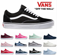 Wholesale Sneakers Mens Brands - 2018  Old Skool Canvas Sneakers Classic White Black Red Blue Brand Sneakers For Women Mens Low Cut  Skateboard Casual Running Shoes