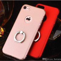Wholesale Iphone Rubberized Hard Cases - For iPhone 6 6S 7 Plus Ultra-thin PC CASE Metal Ring Stand Rubberized Oil 360 Degree Full Cover Matte Hard Back Shell DHL