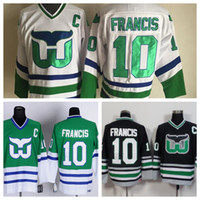 Wholesale Ron Francis Jersey - Cheap Hartford Whalers Jerseys #10 Ron Francis Jersey Throwback Green White Black Ice Vintage Ron Francis Hockey Jersey C Patch Stitched