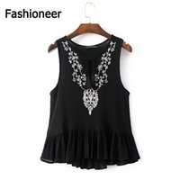 Wholesale Sexy Korean Lady Blouse - Fashioneer 2017 Spring new Floral Embroidery Women sexy V neck blusas sleeveless blouse korean casual vintage black shirt tops for ladies