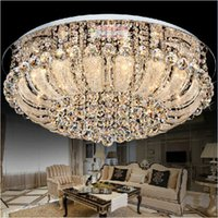 Wholesale K9 Ornament - Round LED crystal fashion modern white K9 crystal absorb dome light ornaments