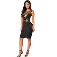 elbise siyah payet seksi toptan satış-Kadın Parti Elbiseler Yaz 2019 Siyah Altın Pullu Bodycon Elbise Kadınlar Için Seksi V Yaka Kolsuz Kılıf Kulübü Midi Elbise