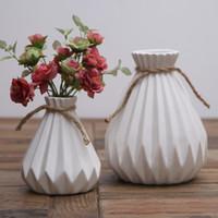 Wholesale House Flower Ceramic - Ceramic vase vintage Folds flower Storage Holder Creative Potted plants Pouring pot House Decor simple Solid color vase Decoration wholesale