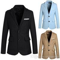 Wholesale Shiny Black Jackets For Men - Solid Mens Business Blazers Slim Fit Lapel Neck Shiny Blazer Jackets For Men Wedding Tuxedo With Two Pockets Design Men Suits J160446