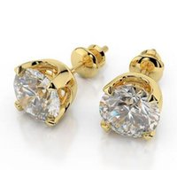 Wholesale Gold Diamond Cut Earrings Stud - 1 Ct Solitaire Enhanced Simulation Diamond Stud Earrings Round Cut D SI1 14K Yellow Gold