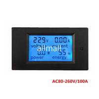 Wholesale Panel Analog Meter - Freeshipping 5pcs lot Digital AC Voltage Meters 100A 80~260V Power Energy analog Voltmeter Ammeter watt current Amps Volt meter LED Panel Mo