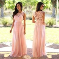 Wholesale Cheap Long Elegant Dress Blue - Elegant Coral Mint Bridesmaid Dresses Lace Appliqued Wedding Guest Dress Sheer Back Zipper Sweep Train Chiffon Cheap Formal Gown 2017