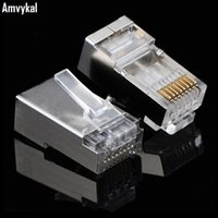 Wholesale High Quality Patch Cables - Amvykal High Quality Metal Shield RJ45 8P8C Network CAT5E Modular Plug RJ-45 CAT5 Ethernet Lan Cable Modular Plug Adapter Connector