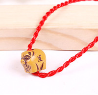 Vente en gros - tibétain Bone Red Rope Animal Pig Bracelet signes du zodiaque Bouddhisme Bracelet