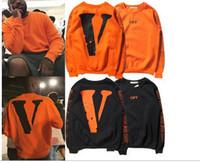 Wholesale Warm Pullovers - Winter warm Off White VLONE Hoodies Men hoodie Sweatshirt High Quality Big V Off White VLONE Hoodies