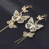 Wholesale level earrings resale online - Multi level long paragraph hollow tassel butterfly earrings European and American ear jewelry manufacturers