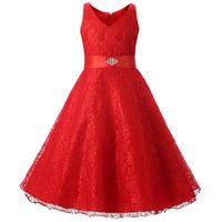Wholesale Teenage Girl Lace Dresses - Elegant Girls party dress summer sleeveless lace princess wedding dress girls teenage prom dress with belt
