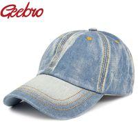 Wholesale Vintage Trucker Hats - Wholesale- Geebro Solid Blue Snapback Baseball Cap Vintage Denim Casual Rodeo Hat Snapback Sports Trucker Polo Gorras for Men Women JS232