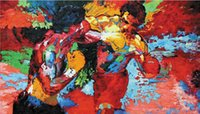 "Wholesale 24 Single Wall - Free shipping 24""x41""inch epro by Leroy Neiman Rocky vs Apollo,HOME WALL Decor Prints Realistic Oil Painting Printed On Canvas -100"