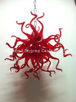 Wholesale Colored Glass Light Shades - Pendant Lighting Glass Shades LED Light Source European Italian Dale Chihuly Style Red Colored Hand Blown Glass Chandelier