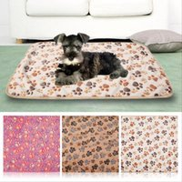 Wholesale Large Fleece Blankets Wholesale - 40x60Cm Warm Pet Mat Small Large Paw Print Cat Dog Puppy Fleece Soft Blanket Bed Cushion J00038