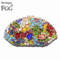 Wholesale Clear Crystal Evening Bag - Wholesale- Exquisite Women Hollow Out Silver Clear Crystal Evening Purse Metal Clutches Bag Bridal Wedding Cocktail Party Handbag Clutch