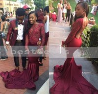Wholesale Stretch Lace Dress Sleeves - Mermaid African Burgundy Prom Dresses 2017 Low Back Long Sleeve See Through Boat Neck Long Sheer Stretch Satin Backless Evening Gowns