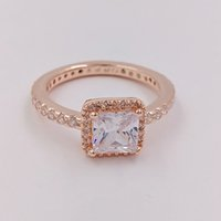 Wholesale 925 sterling silver rose gold plated - Rose Gold Plated Sterling Silver Ring Timeless Elegance European Pandora Style Jewelry Charm Ring Gift CZ